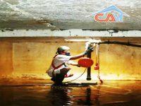 Thau rửa cọ bể nước chung cư tại Khu chung cư Hoàng Đạo Thúy